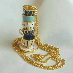 Jewelry - NEW Tea Cup & Saucer Necklace Alice in Wonderland